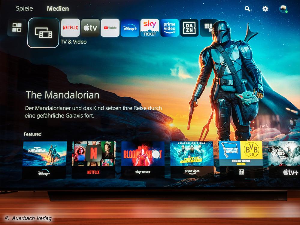 Spiele und Videoapps sind im neuen Homescreen voneinander getrennt. Filmdiscs starten Sie wie auch die Apps innerhalb der Medien-Rubrik. Die PS5 unterstützt die wichtigsten Streaming-Anbieter, doch Dolby Vision oder 3D-Audio sollten Sie hierbei nicht erwarten