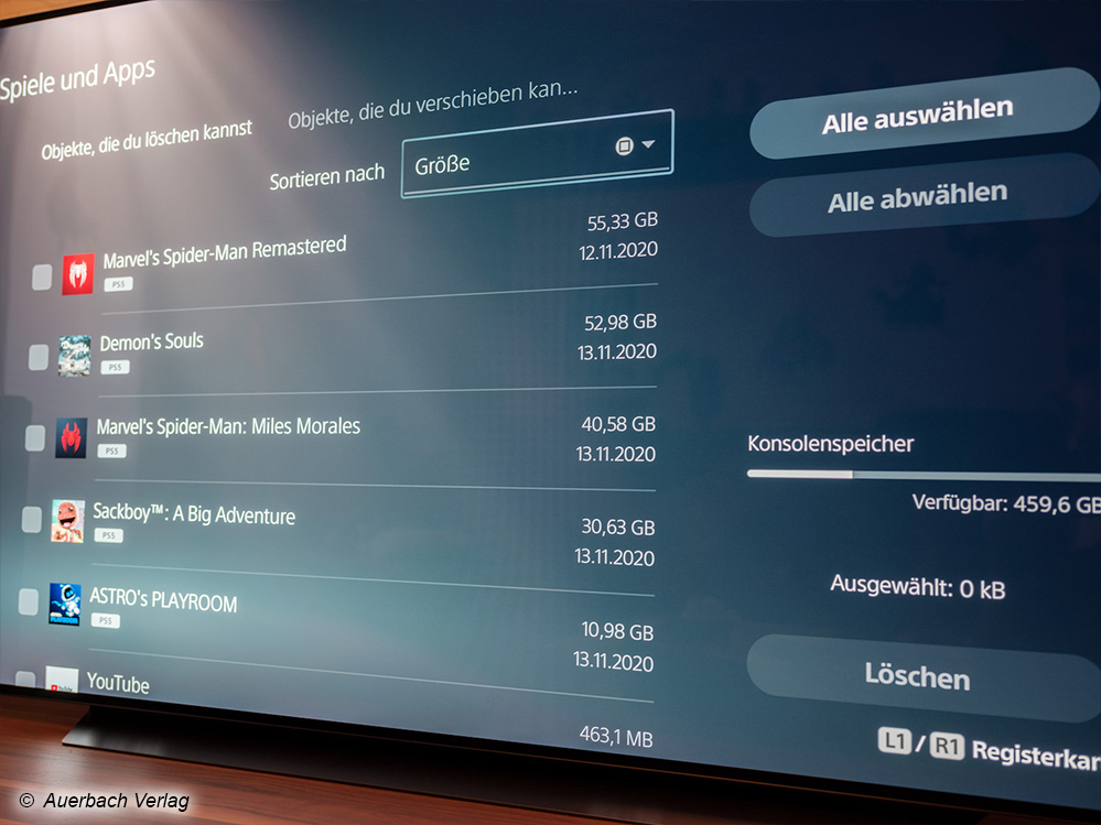 Einer der größten PS5-Nachteile zum Start ist der fehlende Datentransfer für PS5-Games: Der interne Speicher ist schnell gefüllt und lässt sich aktuell noch nicht erweitern. Zudem lassen sich PS5-Daten noch nicht temporär auslagern (nur mit PS4-Daten möglich)