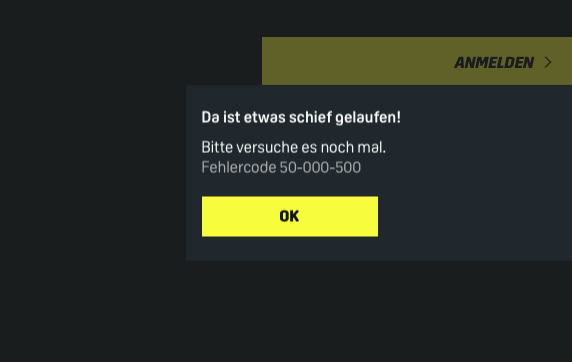 DAZN-Login: Fehlercode 50-000-500