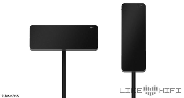 Braun Audio LE01 und LE02 können sowohl horizontal als auch vertikal ausgerichtet werden. Beim Kippen wandern die LEDs. Beim LE03 ist das aufgrund quadratischen Formats irrelevant.