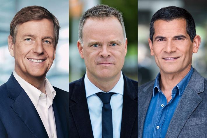 Claus Kleber, Christian Sievers, Mitri Sirin; Foto: ZDF/U. Düttmann/J. Kay/J. Roehr/[M]