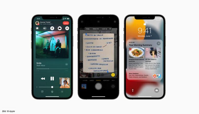 Das iOS 15 auf dem iPhone von Apple